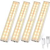 Lumière LED pour armoire, lampe de nuit avec détecteur de mouvement pour intérieur 24 LED, lampe rechargeable sans fil USB av