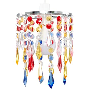 Silly lamp 5 arms chandelier gypsy small multi colour amazon minisun elegant chandelier design ceiling pendant light shade with beautiful multi coloured acrylic jewel effect droplets aloadofball Choice Image