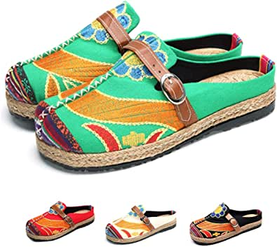 NUHEEL Women's Clogs, Women's Mules Ladies Embroidered Canvas Casual Walking Shoes with Candy Colors Multicolor Art Painted Spring Summer Slippers for Travel