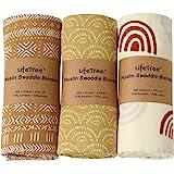 LifeTree 3-pack baby muslin tyg – mjuka bambubomull muslin svadel filtar – jordnära färgkollektion, lätt, andas, stor 120 x 1