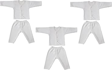 Littly Front Open Kids Thermal Top & Pyjama Set for Baby Boys & Baby Girls, Pack of 3 (White)