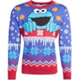 Sesame Street Christmas Jumper Cookie Monster Logo Knitted Nuevo Oficial Unisex