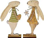 MACOSA EX233692 Decoratieve haas set van 2 hout & stof Paashaas staand Paashaas Pasen decoratie tafeldecoratie decoratieve f