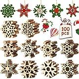 FANDE Bois Arbre de Noël Ornements, 100 Pcs Décorations de Noël, Flocons Suspendus pour Arbre de Noël, Ornement en Bois Natur