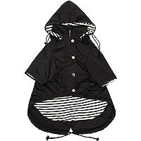 Morezi Dog Zip Up Dog Raincoat with Reflective Buttons, Rain/Water Resistant, Adjustable Drawstring, Removable Hood, Stylish Premium Dog Raincoats - Size XS to XXL Available - Black - XS