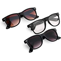Royal Son Black,Brown and Clear Stylish Unisex Sunglasses Combo (Latest Goggles)