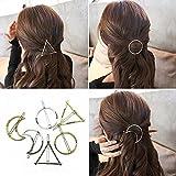 Frcolor - Horquillas para pelo metálicas de color oro, plata y diseño geométrico de círculo, triángulo y luna. Lote de 6 horq