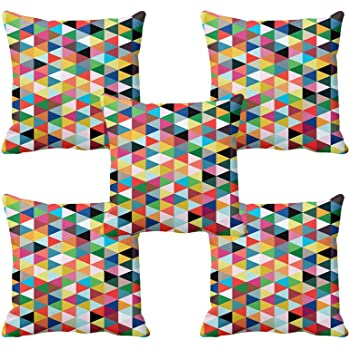 "meSleep Geometrical 5 Piece Satin Cushion Cover Set - 16""x 16"", Blue"