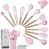ZCOINS 18+1 stuks siliconen kookgerei, set met houten handgrepen en houder, keukengadgets, keukengereedschap set cadeau (roze