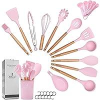 ZCOINS Ensemble d'ustensiles de cuisine en silicone 14 + 1 pièces avec poignées en bois et support (rose)