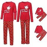 Pijama Familia Ropa de Noche Vestidos Navidad Chándal Elegante 2PC Hombre Mujer Niños Camiseta Papá Noel Tops + Pantalones Se