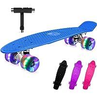 BELEEV Skateboard 22 inch Completo Mini Cruiser Skateboard per Bambini, Giovani e Adulti, Ruote con all-in-One Skate T…