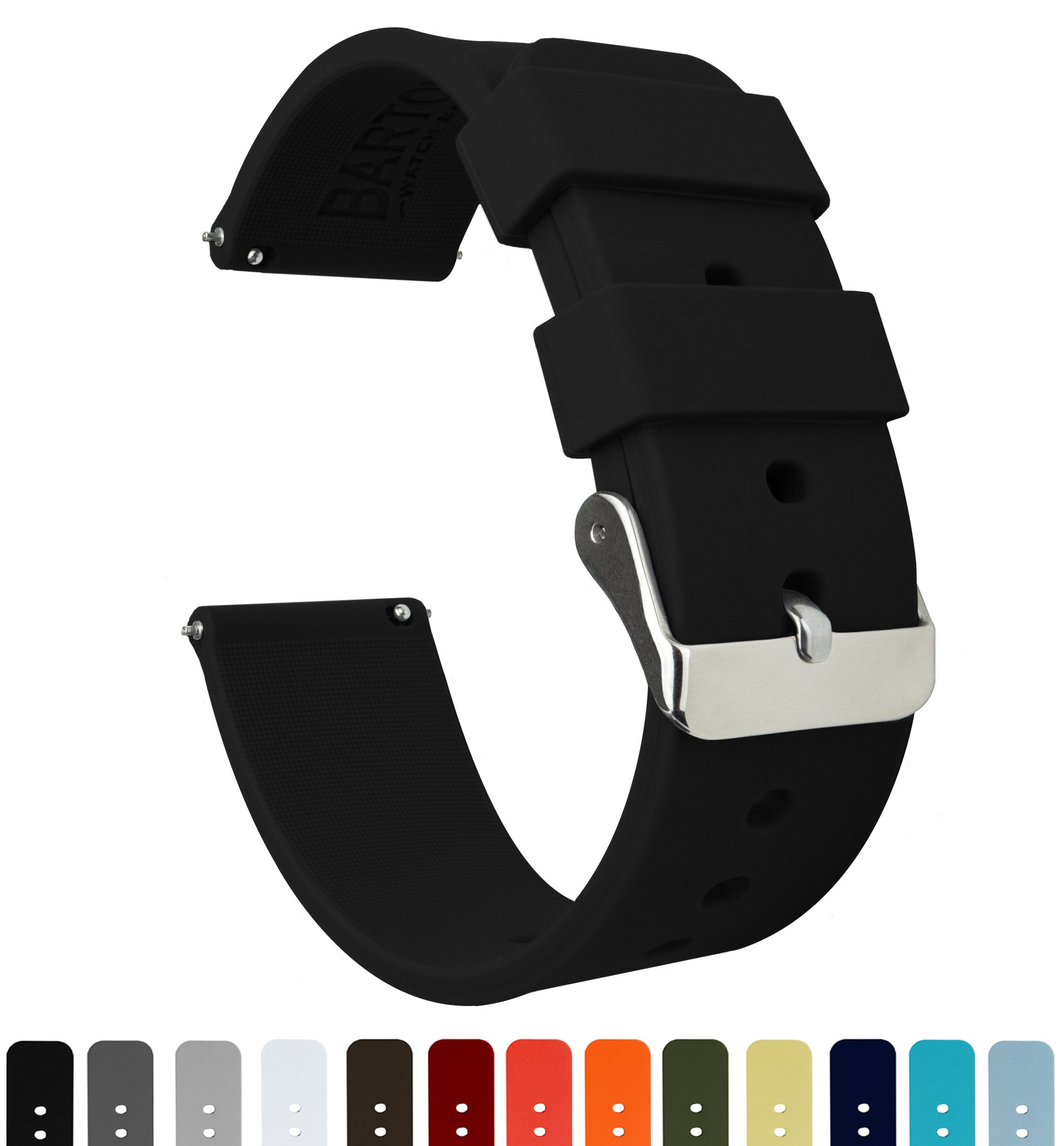 Barton Silicone Watch Bands – Quick Release Straps – Choose Color & Width – 16mm, 18mm, 20mm, 22mm or 24mm – Soft Rubber