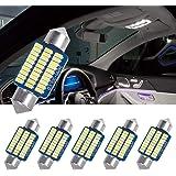 SanGlory 6 x 36mm LED Lampadine C5W Canbus No Errore LED Festone Bianca 6000K, 30 x 3014 SMD LED Bulbi per Luci Plafoniera, L