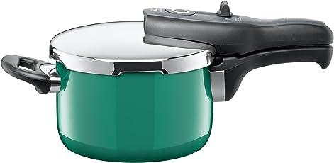 Silit Sicomatic t-plus Schnellkochtopf 2,5l, Silargan Funktionskeramik, 3 Kochstufen Einhand-Kochstufenregler induktionsgeeignet, spülmaschinengeeignet, grün, Ø 18 cm