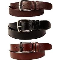 SORSHORE Men's Artificial Leather Belt (Black, Free Size) -Combo of 3