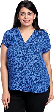 The Pink Moon Plus Size Blue & Black V Neck Printed T-Shirt Sizes Large to 6XL