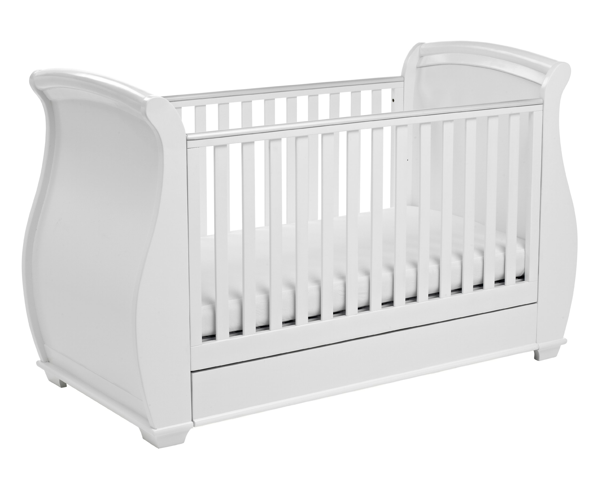 Babymore Bel Sleigh Cot Bed Dropside with Drawer (White)  Magnificent sleigh with appealing look of grandeur and solidity. Easily convert to junior bed/sofa/day bed, Meet British and European safety standards Single handed drop side mechanism allow easy access to your baby. 3
