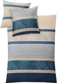 Dormisette Bettwäsche Set 135 x 200 Mako Satin Baumwolle Blau Grau Ornamente