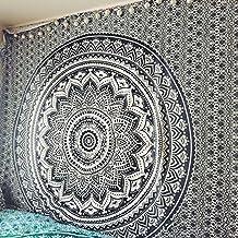 Mágico tapiz de Craftzone de color negro y gris, decoración para el hogar con diseño de Mandala estilo bohemio hippie, lo puedes usar para colgarlo en la pared o como cobertor para la cama, Double 240x220 cms