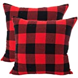 LEIOH Christmas Decorations Retro Checkers Plaids Cotton Linen Throw Pillow Covers Cushion Case Bed Set of 2 (Red and Black,