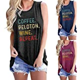 Top Donna T-Shirt Donna Allentato Confortevole Urban Fashion Lettera Stampa Girocollo Top Senza Maniche Summer Vacation Casua