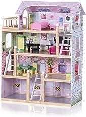 Baby Vivo Puppenhaus Zubehör Holz Puppen Barbie inkl. Möbeln Treppe Bett 13 Teile Puppenhausmöbel Kinderspielzeug - Lavinia