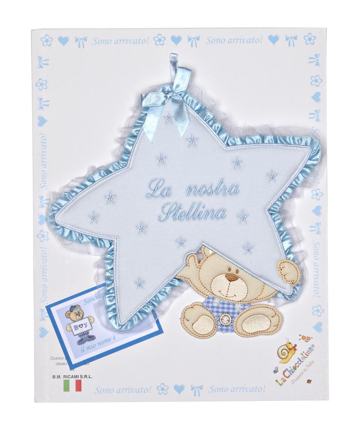 fiocco nascita stellina con orso azzurro