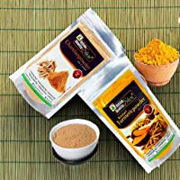 Online Quality Store Kasturi Turmeric Powder for Face(50 Grams) + Sandalwood Powder Pure Organic for Skin Whitening(50 Grams) - 2 in 1 Combo Pack, Total 100 Grams