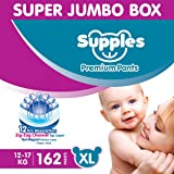 Supples Baby Diaper Pants XL Pack of 3 Super Jumbo Box (162 Piece)