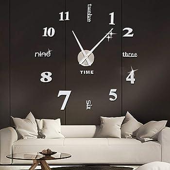 Orologio da Parete SOLEDI Fai Da Te Adesivo Orologio Parete Decorazione per Casa,Ufficio,Hotel,Ristorante,Cucina 3D Orologio da Parete Riempire Vuoto Parete ( Argento / Nero)
