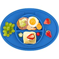 RSPrime One Piece Baby Silicone Suction Plate Feeding Tray - Bee Design Placemat Bowl Food Mat for Toddlers and Young Kids,Fits Highchair and Travel Feeding,Best Baby Gift (Blue)