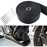 FREESOO Bende Termiche Scarico, Bende Termiche Moto Nastro Benda Isolamento Termico Collettori di Scarico per Moto 15M…