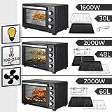 Jago® Mini Four - Capacité 30/48/60 L, 1600/2000 W, avec/sans Rôtissoire, Minuteur 0-60 min, 100-230°C, avec Grille et Plaque
