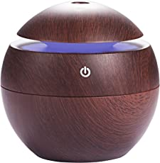 ShoppoZone Mini Aroma Essential Oil Diffuser, Wood Grain Cool Mist Humidifier Portable Ultrasonic Humidifier with 6 Color Changing Lights