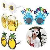 leyun 4 Pairs Novelty Party Glasses, Funny Eye Glasses, Beach Party Sunglasses, Hawaiian Sunglasses, Tropical Sunglasses, Fan