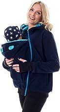 Divita 3in1 Tragejacke Umstandsjacke mit süssen Bärchen Ohren für Tragetuch Babytrage Fleece für Baby und Mama 46