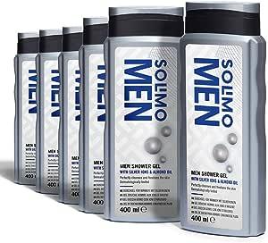 Marchio Amazon - Solimo Gel doccia uomo con ioni d'argento e olio di mandorla-Confezione da 6 (6 flaconi x 400 ml)