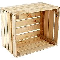 GrandBox Caisse Non traité Natural-Box, Caisse à vin, Caisse à Fruits, Caisse de décoration, Rangement Vintage Shabby…