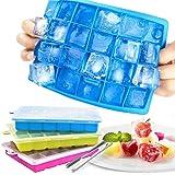Zaloife 3pcs Bac à Glaçons en Silicone, Glaçon avec Couvercle, Ice Cubes Tray, Bac à Glaçons Silicone Bebe, 72 Moules à Glaço