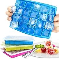 Zaloife 3pcs Bac à Glaçons en Silicone, Glaçon avec Couvercle, Ice Cubes Tray, Bac à Glaçons Silicone Bebe, 72 Moules à…