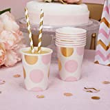 Premium Weddings Pappbecher Punkte rosa Gold 250 ml 8 Stück - Einwegbecher Hochzeit Punkte rosa Gold Partybecher Baby Shower Babyparty Kindergeburtstag Dots rosa Gold