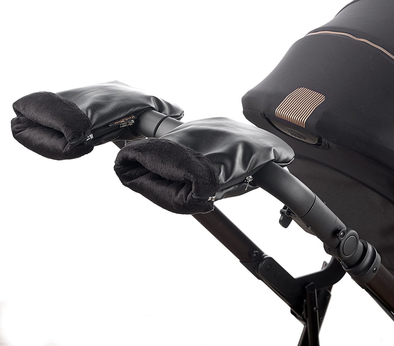 Guanti di sedia di passeggino, Guanti invernali guanti in pile nero, Protege mani Guanti calda.