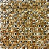 Baumaterialien golden Wandfliesen, Glas wasserdichte Mischung Harz und Stein Mosaik Glasfliesen für home Dekor/Küche Backsplash/Bodenbeläge, qualitativ hochwertige Multi-Purpose Fliesen, LSHYM1502 (300x300mm/Stück)