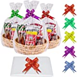 BTNOW 30pcs Cellophane Basket Bags Hamper Wrap Bags Pull Bow Set, Large Christmas Clear Plastic Basket Wrapping Bags for…