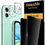 UniqueMe [2+2 Stück] Sichtschutz Kompatibel mit iPhone 11 (6.1 Zoll) 2 Stück Full Screen Panzerglas Sichtschutz und 2 Stück K