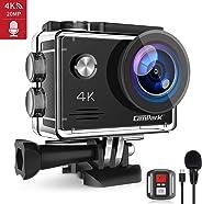 Campark 4K 20MP Action Cam con EIS Telecomando Microfono Esterno WiFi Videocamera Subacquea 40M 2 Batterie e Kit Accessori C