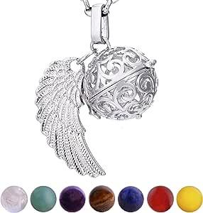 Morella Collana Donna Acciaio Inossidabile 70 cm con Ciondolo e 7 Sfere con Pietre preziose Gemme minerali in Un Sacchetto di Velluto