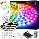 Lepro 10M tiras de luces RGB con música, tira LED 5050 SMD 12V 24 teclas Cinta LED autoadhesivas, Strip Tira para TV, Fiesta,