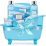 Coffret Cadeau pour Femme -Body&Earth 6Pcs Coffret de Bain au Parfum d'Océan, avec Bougie Parfumée, Lotion pour Corps, Sels d